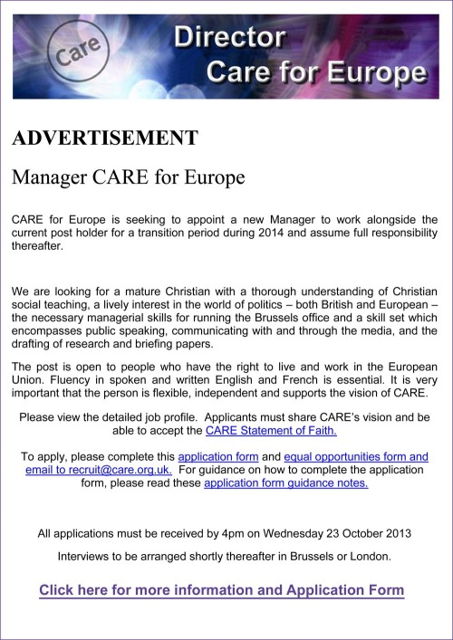 CARE ADVERTISEMENT Oct 2013